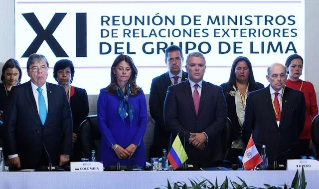 """Grupo de Lima apoya transición democrática en Venezuela """"sin el uso de la fuerza"""""""