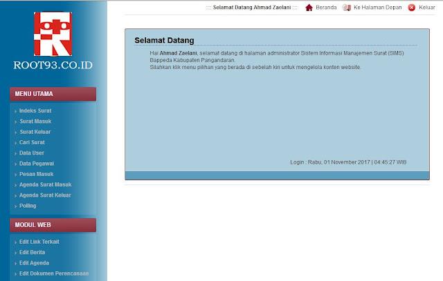 Halaman Administrasi SIMS