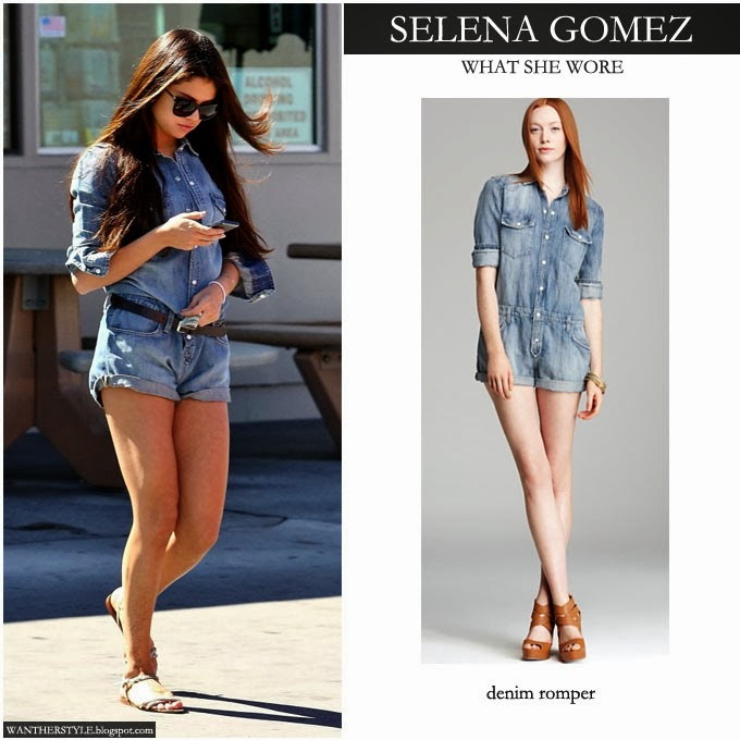 76a0ff568f72 Selena Gomez in blue denim romper by Joes Jeans Want Her Style Celebrity  Fashion