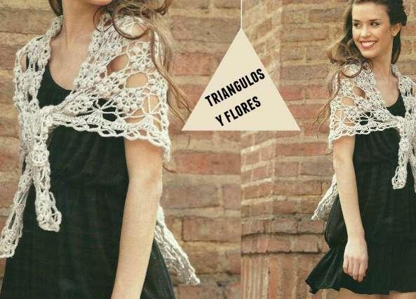 Chal triangulos de flores vintage crochet