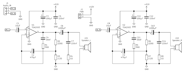 TDA2003 stereo amplifier schematic