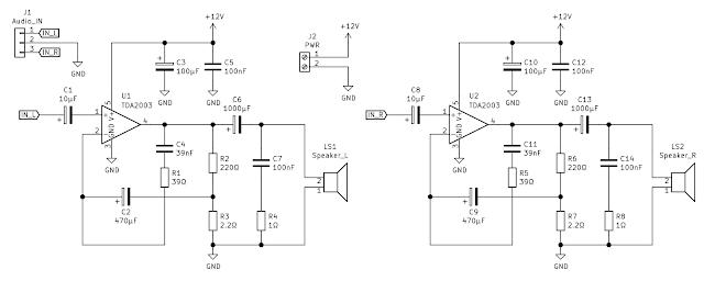 Schema amplificatorului audio stereo cu TDA2003