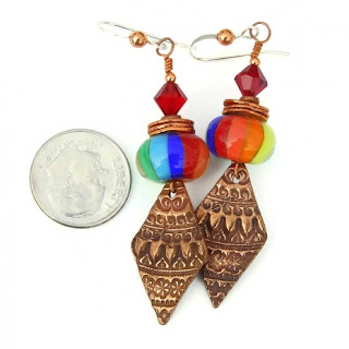 unique rainbow and copper jewelry gift idea for women