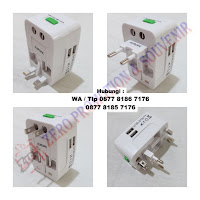Barang Promosi Dual Port USB Travel Adapter UAR07 , Barang Promosi Universal Adaptor, Barang Merchandise Souvenir Promosi Travel Adaptor