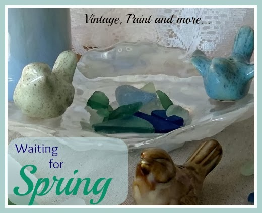Waiting for Spring - cute little  birds with beach glass
