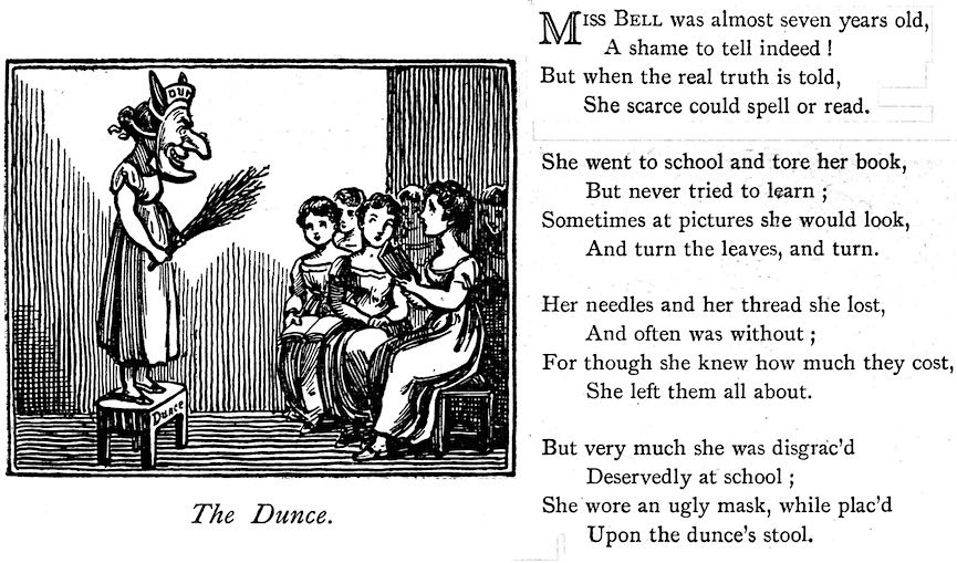 1811 school dunce, illustration with text