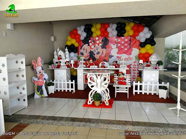 Decoração tema da Minnie - Mesa temática Minnie vermelha - festa infantil - Provençal luxo
