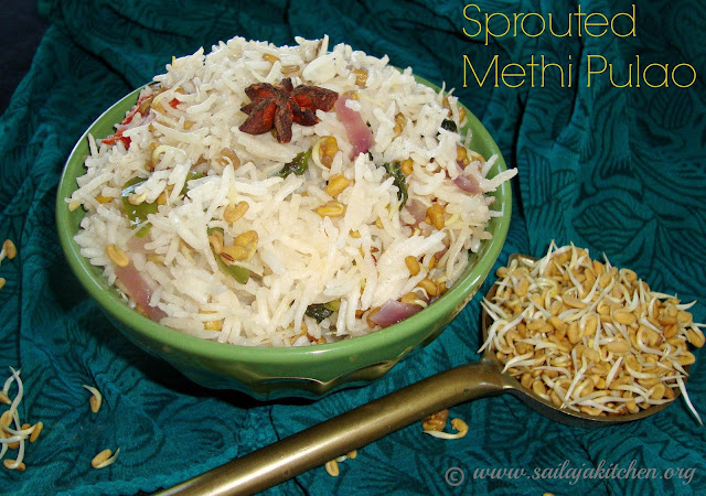 images of Sprouted Methi Pulao / Vendhaya Pulao Recipe / Vendaya Sadam / Fenugreek Pulao