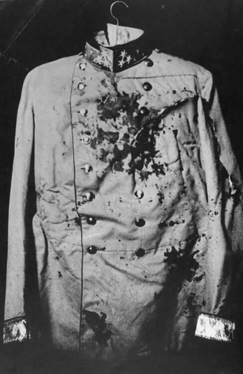 Bloodstained coat worn by Franz Ferdinand when he was killed in 1914