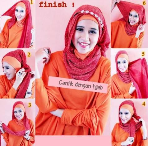Langkah dalam memakai jilbab segiempat dengan mudah