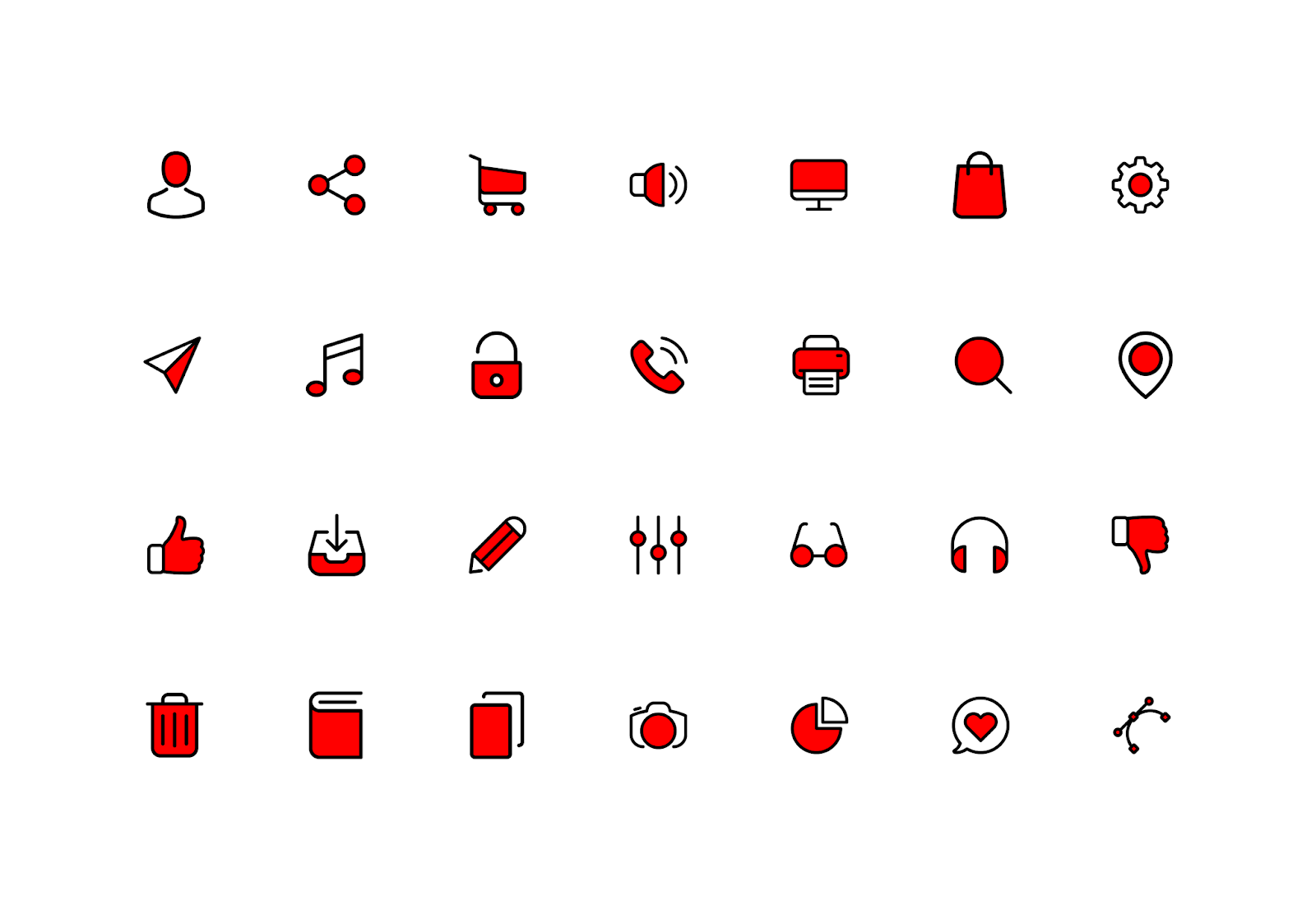 Black And Red Icon Pack Png Free Download