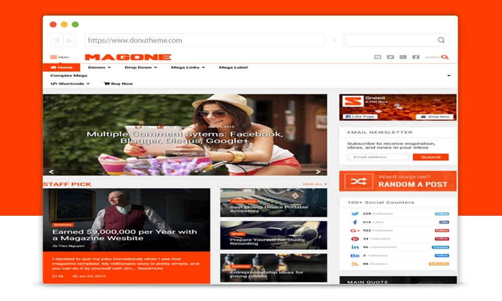 MagOne Responsive Blogger Template
