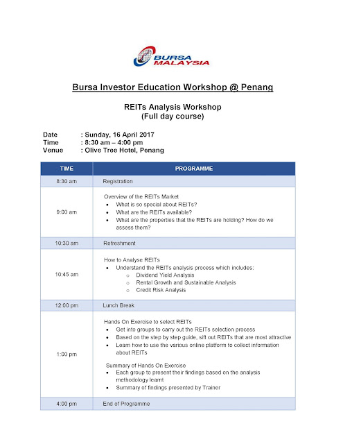 Bursa Investor Education Workshop(BIEW): REITs ANALYSIS WORKSHOP (Penang)