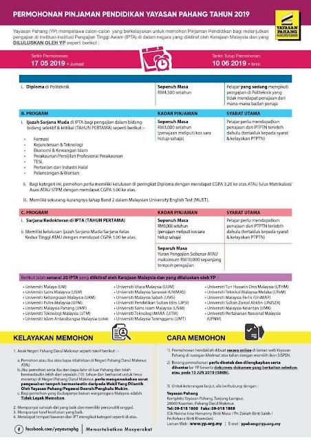 Permohonan Biasiswa Yayasan Pahang 2019 Online