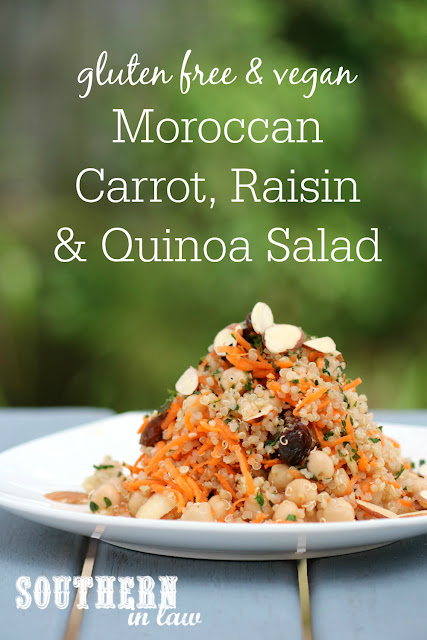 Moroccan Carrot Raisin and Quinoa Salad - gluten free, grain free, high protein, vegan, vegetarian, dairy free, egg free, meat free, sugar free, clean eating recipe