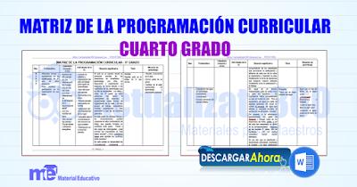 Matriz de la programación curricular cuarto grado primaria ...