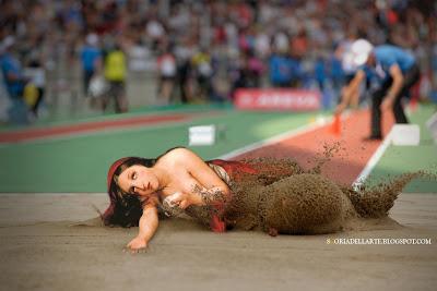 fotomontaggi dipinti classici-giochi olimpici-Rio 2016-salto in lungo