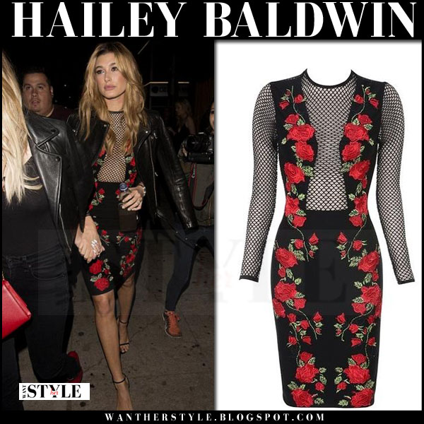 Hailey Baldwin in black leather saint laurent jacket and black mesh rose print house of cb carmen mini dress what she wore model style