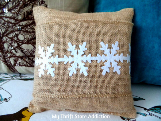 Recreate Your Pillows: A Holiday Fashion Show mythriftstoreaddiction.blogspot.com No sewing required--just add burlap ribbon for a new look