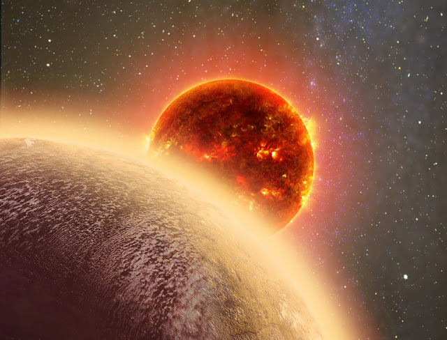 Hình ảnh đồ họa ngôi sao Gliese 1132 khi nhìn từ phía sau của hành tinh GJ1132b. Hình ảnh: Dana Berry.
