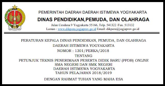 DOWNLOAD JUKNIS PPDB ONLINE SMA NEGERI DAN SMK NEGERI  DAERAH ISTIMEWA YOGYAKARTA TAHUN PELAJARAN 2018/2019