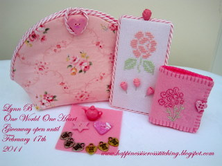 Finishing ideas for cross stitch showing needlebook, pinkeep and small pink bag