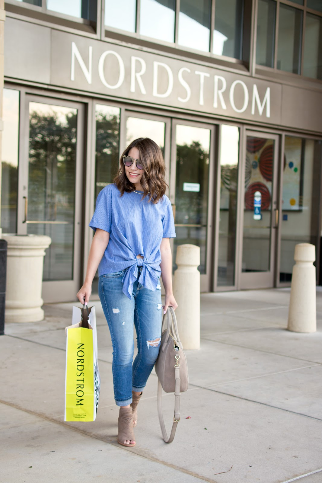 Nordstrom Anniversary Sale Shopping Outfit Vince Camuto Booties Blue Tie Front Tee Boyfriend Jeans Sole Society Bag
