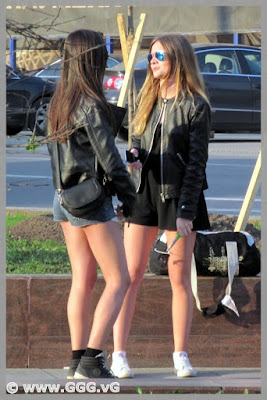 Girls in leather jackets on the street