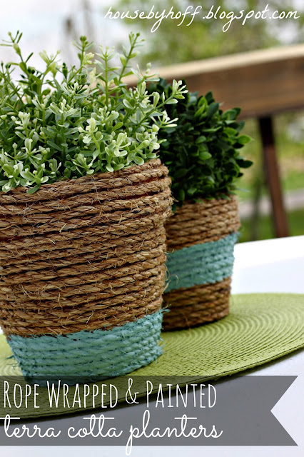 Rope Wrapped Planter Box Idea #planter #outdoorplanter #planterboxes #outdoor @SimplyDesigning