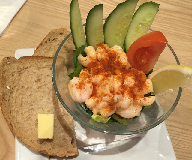 Prawn Cocktail starter in a glass jar with a side of bread and butter