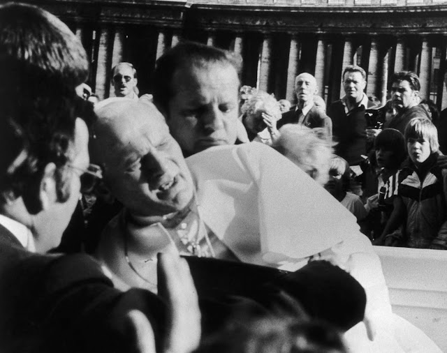 Pope John Paul II in agony after being shot.