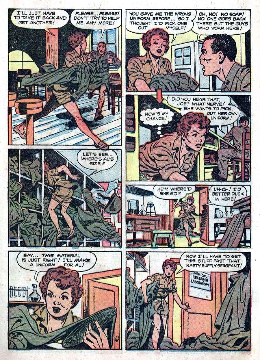 Matt Baker golden age 1950s st john canteen kate war comic book page art - Fightin' Marines #4