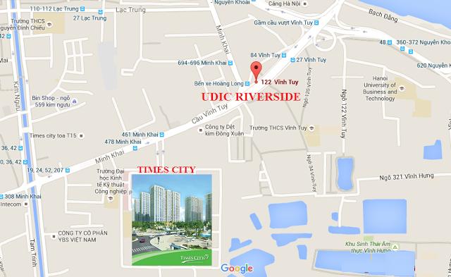 Chung cư Udic Riverside nằm tại số 122 Vĩnh Tuy westlake