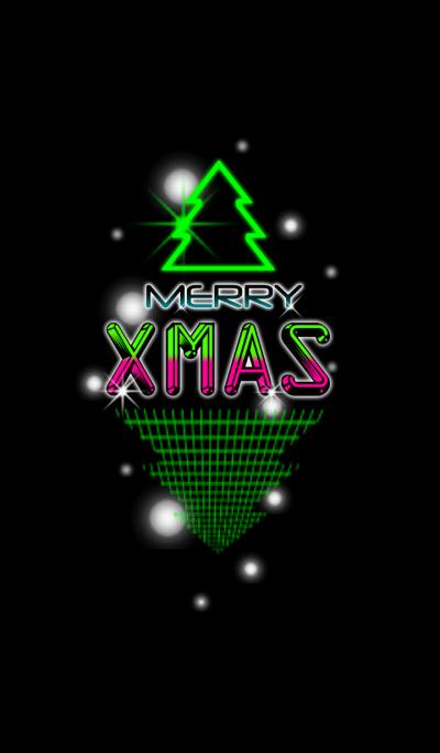 Retro neon merry christmas