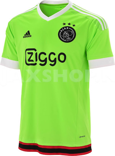 ad246e2da3c The new Ajax Amsterdam 2015-2016 Away Jersey boasts the modern color Solar  Green to stand out. Adidas combines the flashy main color with a black Ajax  crest ...