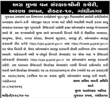 Gujarat Forest Department Recruitment 2016 for 1484 Forest