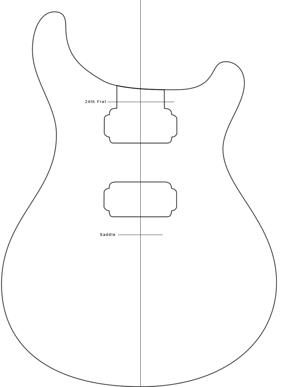 Your average american paul reed smith custom 24 build part 1 for Guitar cut out template