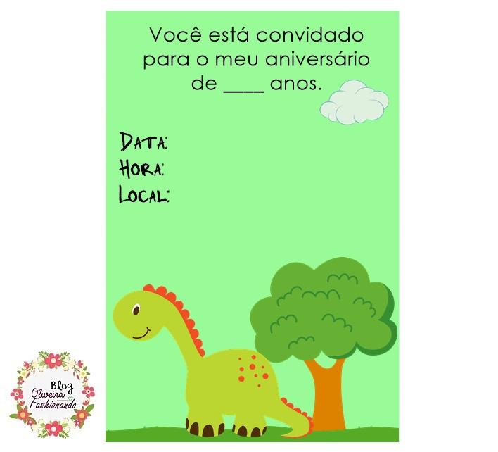 Oliveira Fashionando Convite Dinossauro Pronto Para Imprimir
