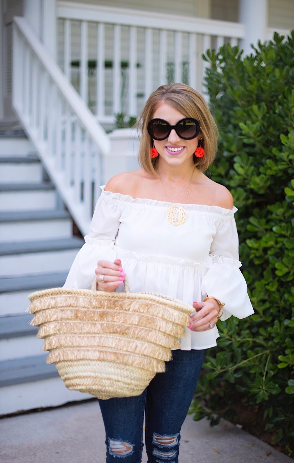 Ruffle Off The Shoulder Top (Under $70) - Click through to see more on Something Delightful Blog!