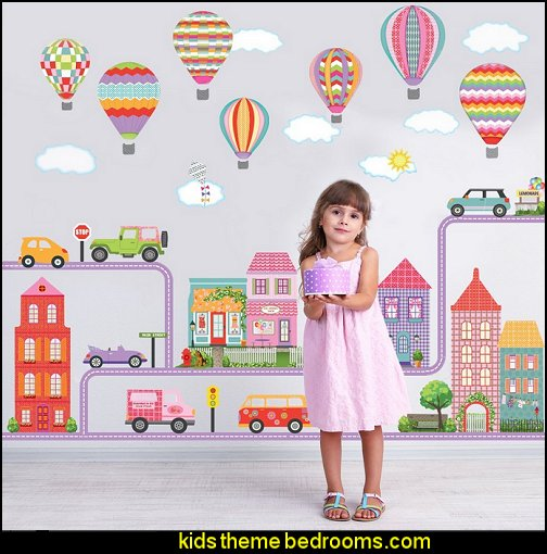 transportation Girls Dollhouse Town, Adventure Cars, Hot Air Balloons with Purple Straight and Curved Road Wall Decals