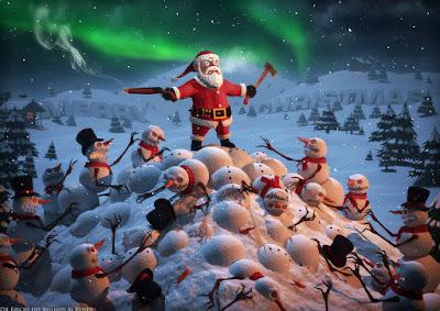 Lustiger Weihnachtsmann zum lachen kämpft gegen Zombie Schneemänner