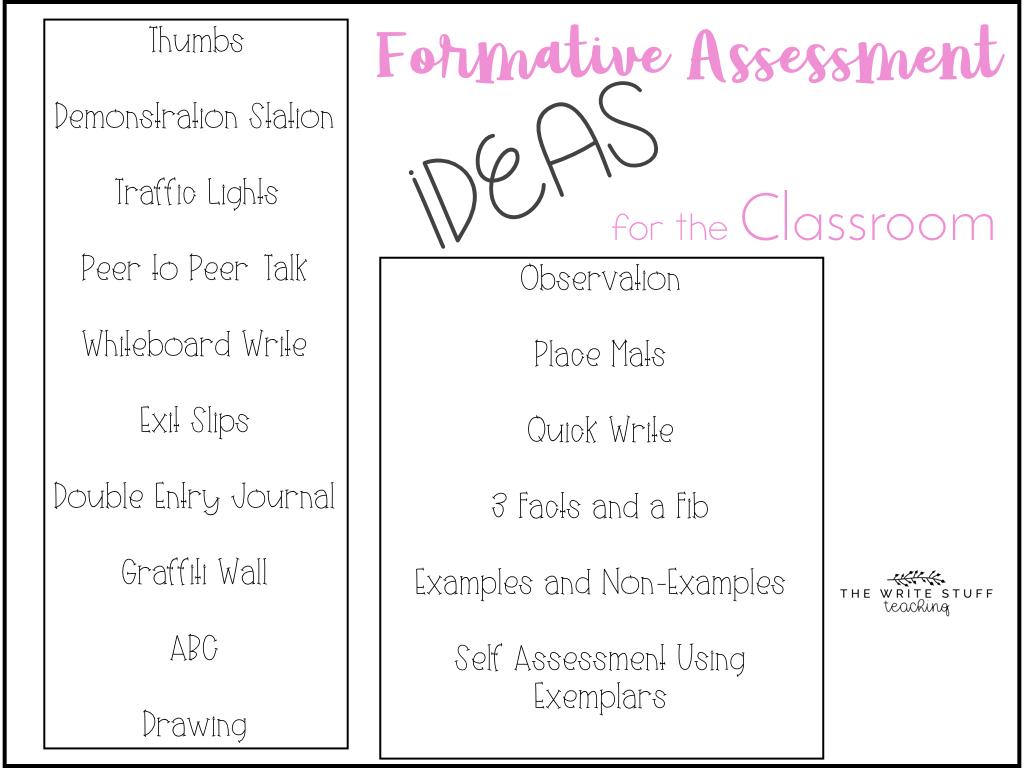 formative assessment ideas - the write stuff teaching
