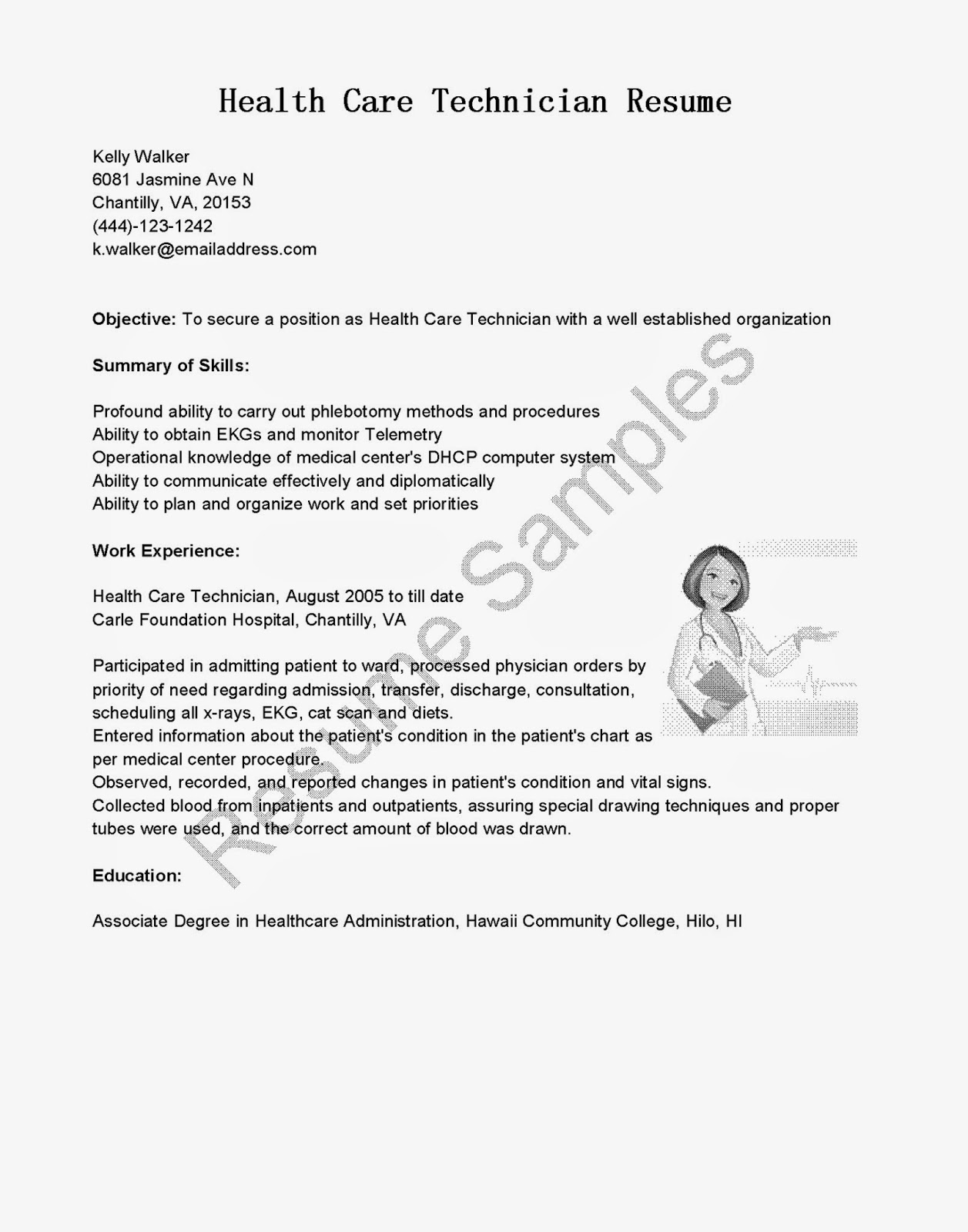 health care office technician resume samples
