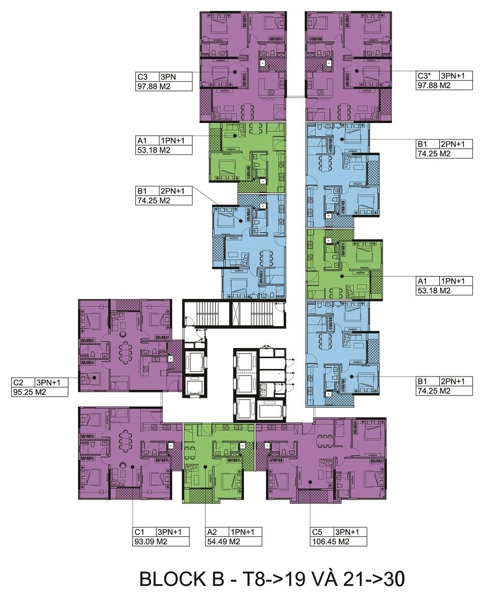 Mặt bằng tầng 8 đến 19 và từ tầng 21 đến 30 Block B- chung cư The Zen.
