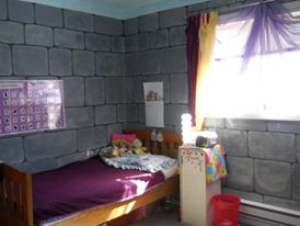 Faux painted castle themed room