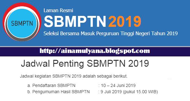 JADWAL PENDAFTARAN SBMPTN 2019