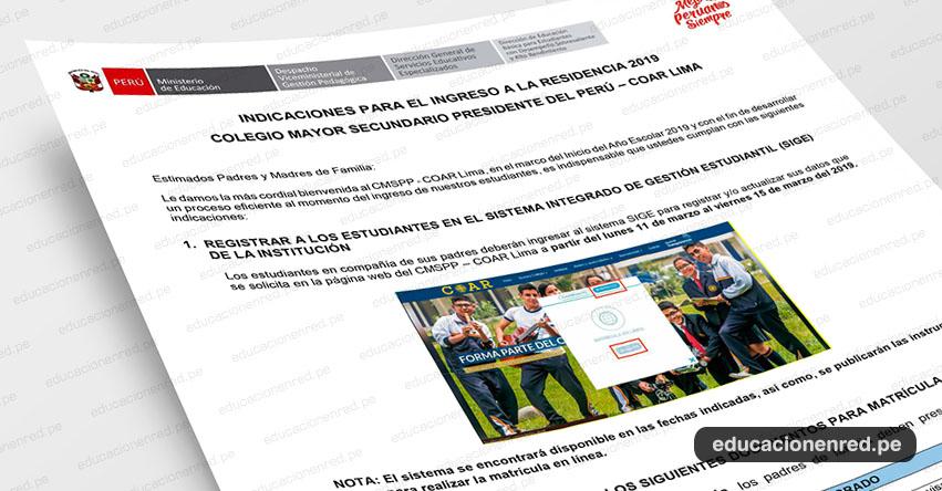 COAR 2019: Relación de documentos y materiales a presentar los ingresantes al Colegio Mayor Secundario Presidente Del Perú - Lima [CRONOGRAMA DE PRESENTACIÓN] www.colegiomayor.edu.pe
