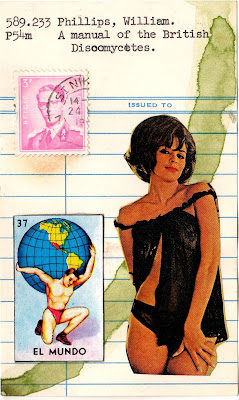 atlas shrugged el mundo mexian lottery card vintage nude woman lingerie postage stamp library card Dada Fluxus mail art collage