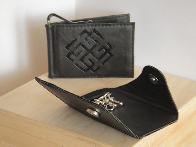 Персональный подарок мужчине - кожаный кошелек и кожаная ключница. Коловрат - славянская символика