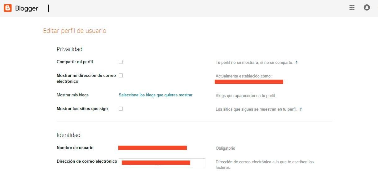 Editar la configuración de Perfil de Blogger